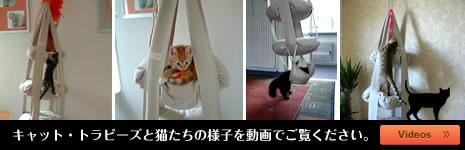 おしゃれなキャットタワー キャット・トラピーズと猫たちの様子を動画でご覧ください。